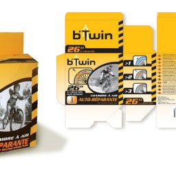 packaging jaune chambre à air-b'Twin DECATHLON
